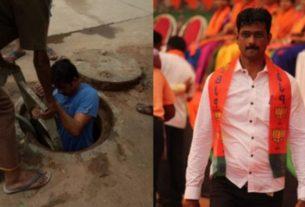 बारिश में सफाई करने खुद गटर में घुसे बीजेपी नेता